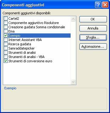 Creazione di componenti aggiuntivi per Excel con Visual Basic .