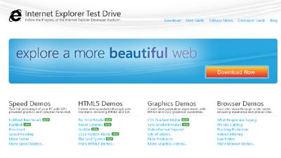 Internet Explorer 10, la pagina web per il test drive