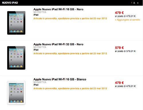 nuovo iPad 3 Vodafone One Online FNAC MED store Mediastore Notte Bianca TIM Tre Italia
